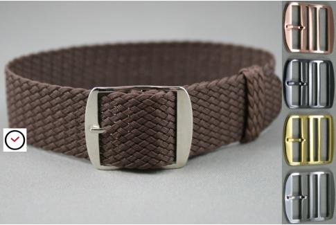 Brown braided Perlon watch strap, gold buckle