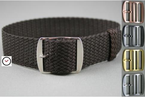 Dark Brown braided Perlon watch strap