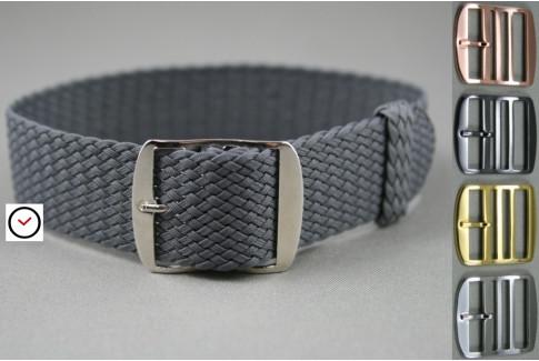 Dark Grey braided Perlon watch strap, gold buckle