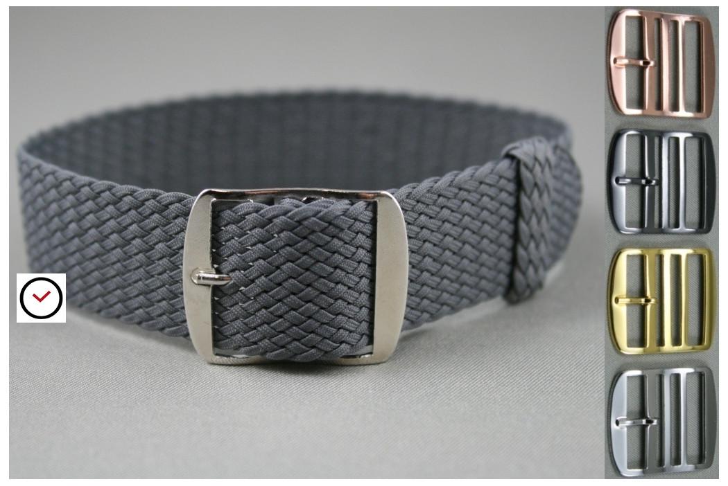 Bracelet montre Perlon tressé Gris Anthracite