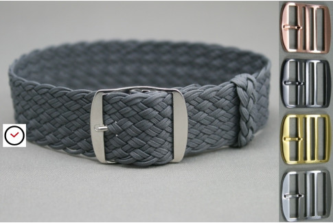 Dark Grey braided Perlon watch strap, double yarn weaving