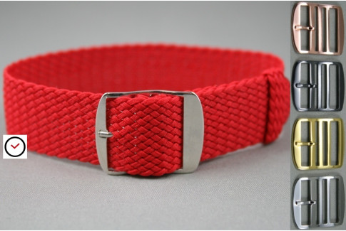 Red braided Perlon watch strap