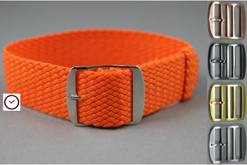 Orange braided Perlon watch strap