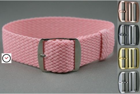 Pink braided Perlon watch strap