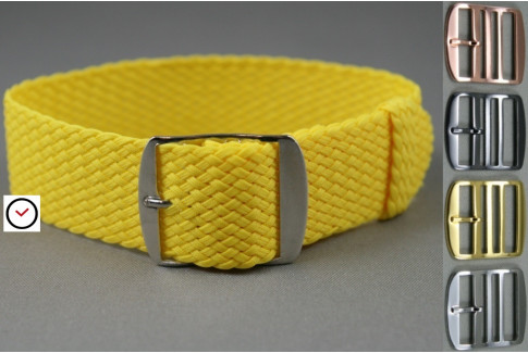 Yellow braided Perlon watch strap