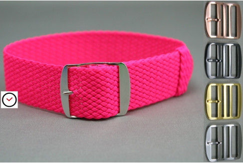 Bracelet montre Perlon tressé Rose Fushia (fluo)