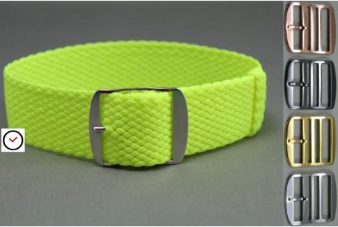Bracelet montre Perlon tressé Jaune Fluo