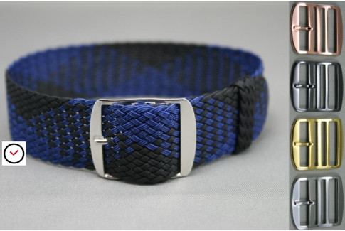 Dark Blue Black braided Perlon watch strap