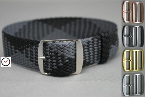Bracelet montre Perlon tressé Noir Gris