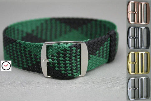 Green Black braided Perlon watch strap