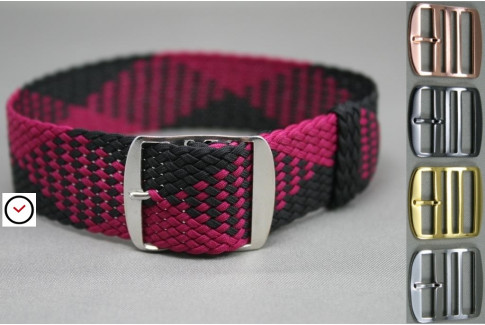 Purple Black braided Perlon watch strap