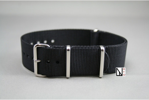 Black G10 NATO strap, polished buckle and loops