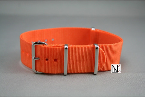 Bracelet nylon NATO Orange, boucle polie