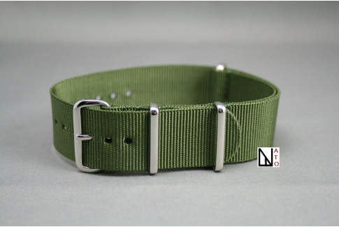 Bracelet nylon NATO Vert Kaki (Militaire), boucle polie