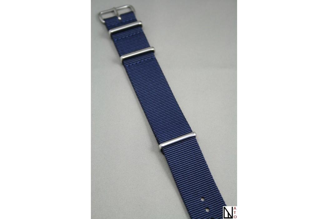 Bracelet nylon NATO Bleu Nuit, boucle polie