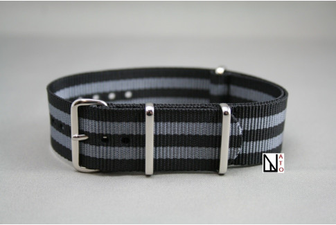 Craig Bond G10 NATO strap (Black Grey), polished buckle and loops