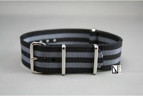 Craig Bond G10 NATO strap (Black Grey), polished buckle and loops
