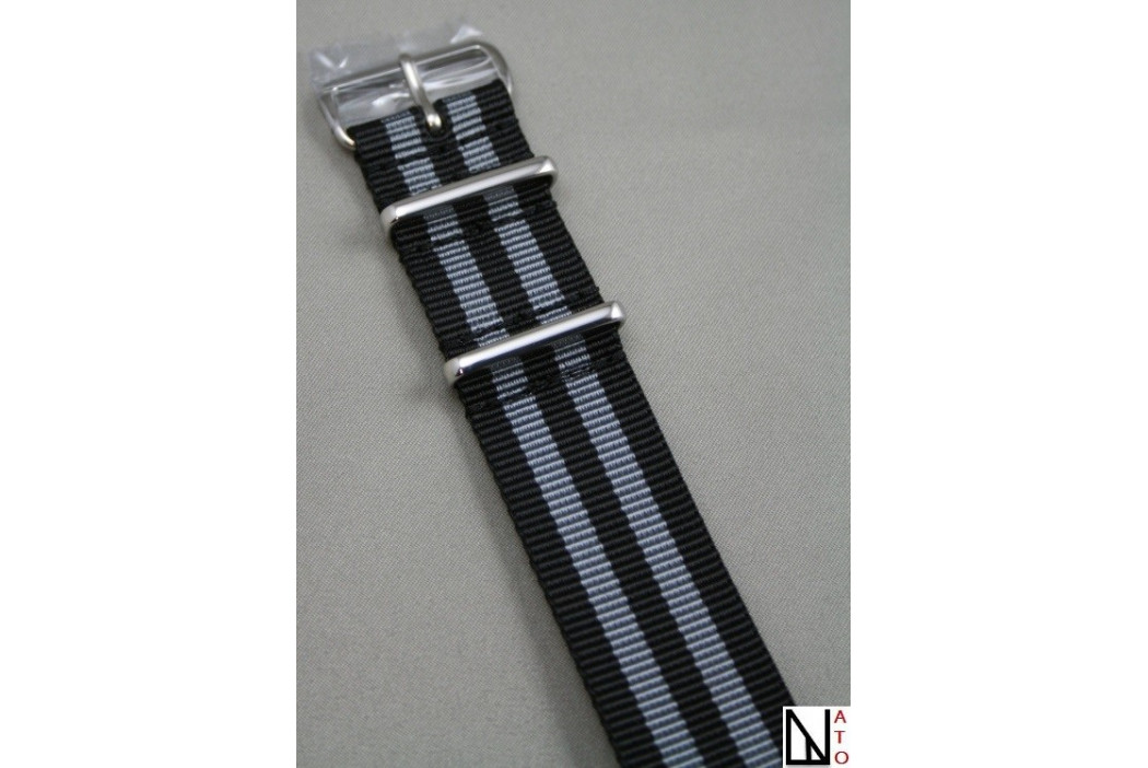 Bracelet nylon NATO Bond Craig (Noir Gris), boucle polie