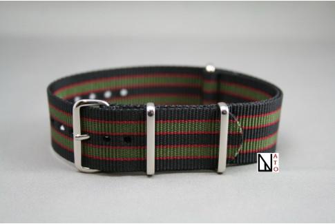 Bracelet nylon NATO Bond Original (Noir Kaki Rouge), boucle polie