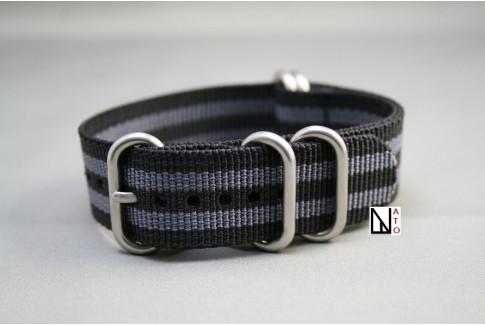 Bracelet nylon NATO ZULU Bond Craig (Noir Gris)