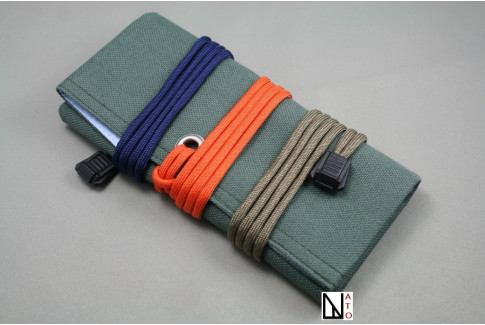Khaki canvas travel roll for watches and straps