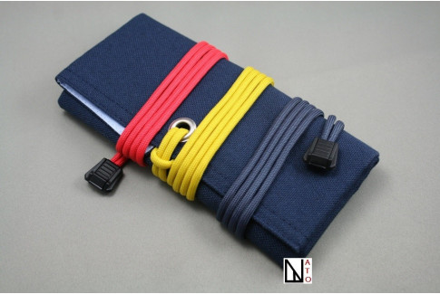 Dark blue canvas canvas travel roll for watches and straps
