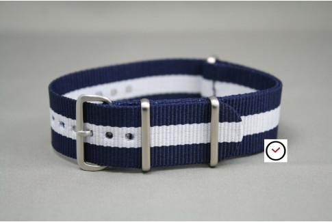 Bracelet nylon NATO Bleu Navy Blanc, boucle brossée