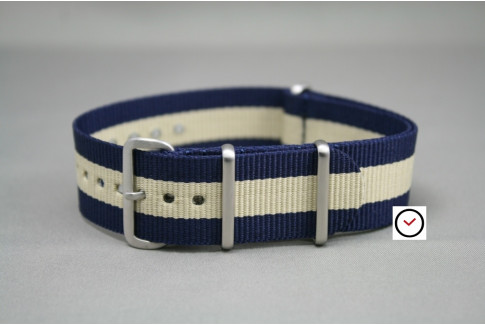 Navy Blue White G10 NATO strap, brushed buckle and loops