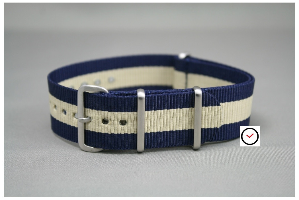 Bracelet nylon NATO Bleu Navy Beige Sable, boucle brossée