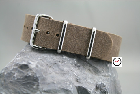 Cocoa Vintage Raw leather G10 NATO strap