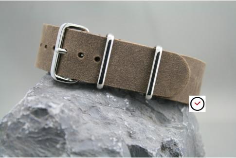 Cocoa Vintage Raw leather G10 NATO strap
