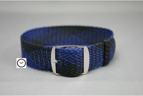 Bracelet montre Perlon tressé Noir Bleu Marine