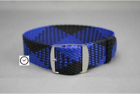 Electric Blue Black braided Perlon watch strap