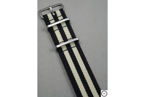 Bracelet nylon NATO James Bond Noir Beige Sable, boucle brossée