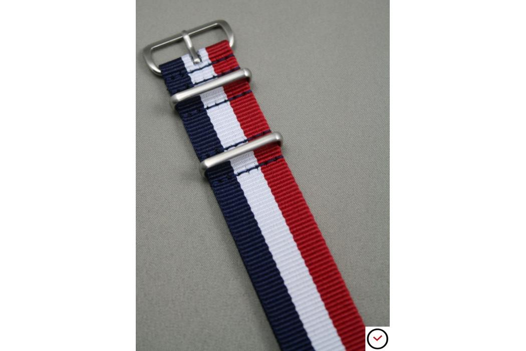 Bracelet nylon NATO Tricolore Bleu Blanc Rouge, boucle brossée