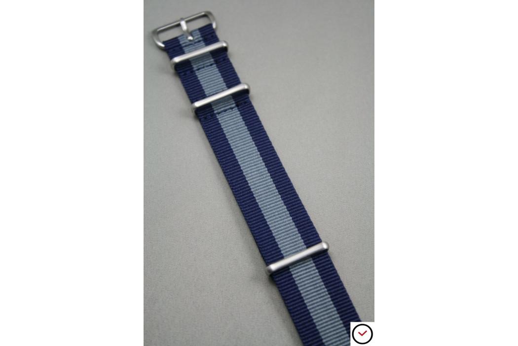 Bracelet nylon NATO Bleu Navy Gris, boucle brossée