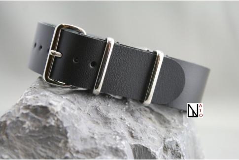 Bracelet cuir NATO Noir Brillant effets usés
