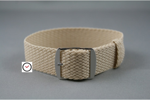 Beige braided Perlon watch strap