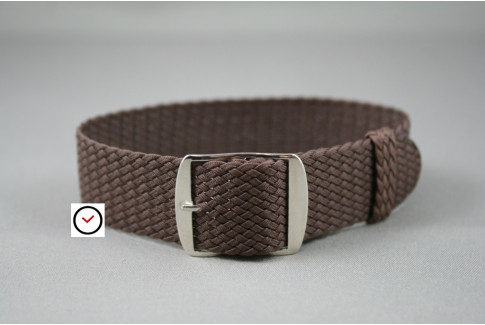 Brown braided Perlon watch strap, gold buckle