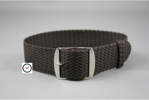 Dark Brown braided Perlon watch strap