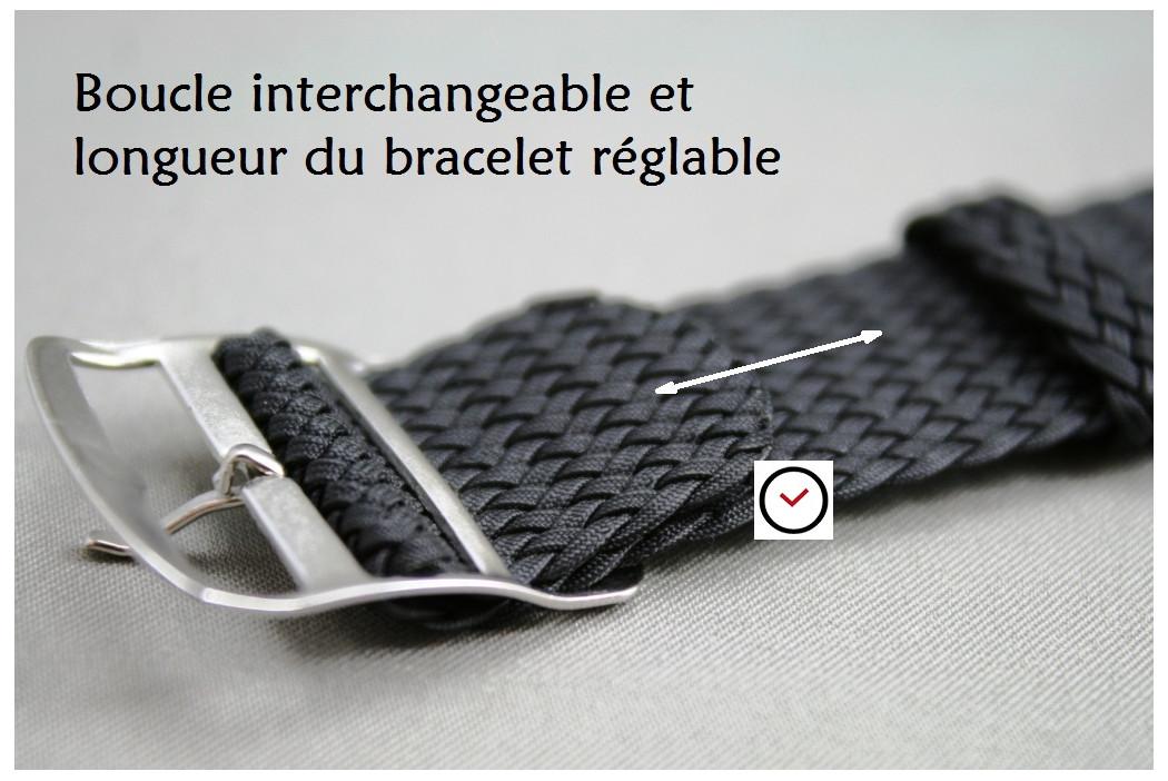 Bracelet montre Perlon tressé Brun (Marron foncé)