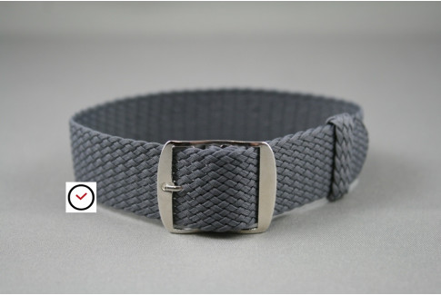 Dark Grey braided Perlon watch strap, gold buckle