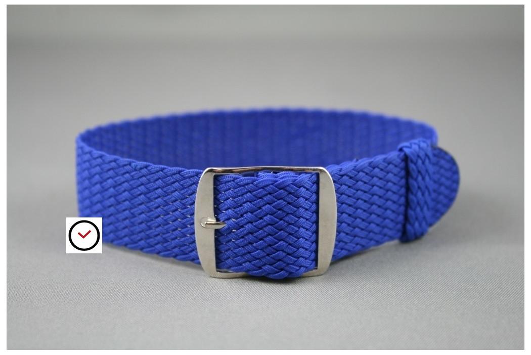 Bracelet montre Perlon tressé Bleu Elec