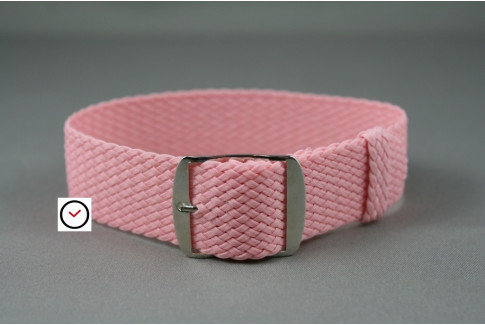 Pink braided Perlon watch strap