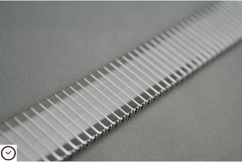 Bracelet extensible en acier inox brossé & poli, anses télescopiques (17, 18, 19, 20, 21 & 22 mm)