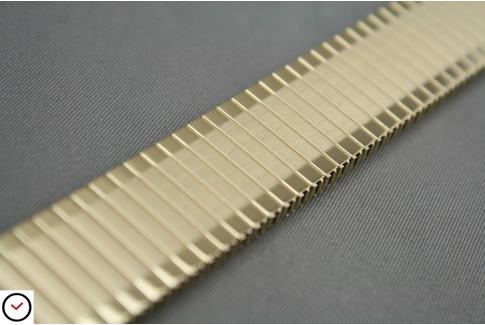 Bracelet extensible en acier doré brossé & poli, anses télescopiques (17, 18, 19, 20, 21 & 22 mm)