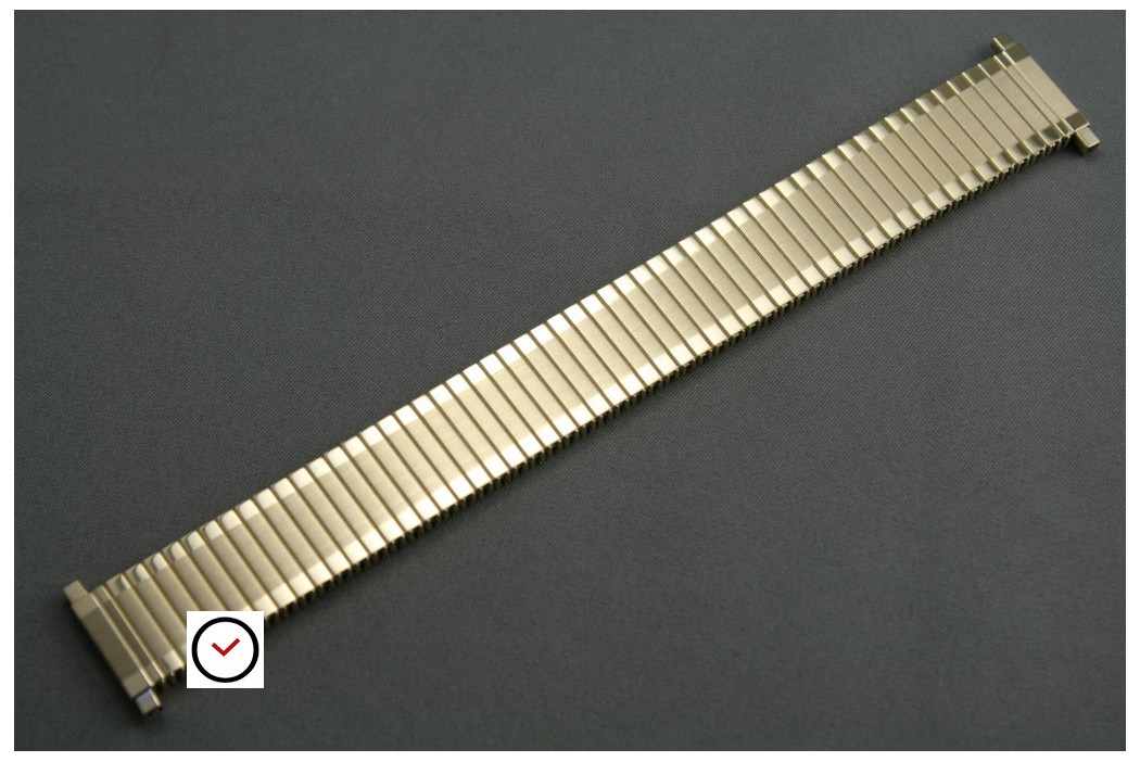 Brushed/polished gold stainless steel expansion watch strap with telescopic ends (17, 18, 19, 20, 21 & 22 mm)