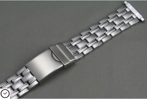 Bracelet acier mixte mat/brillant, anses télescopiques (18, 19, 20, 21 & 22 mm), boucle déployante avec sécurité