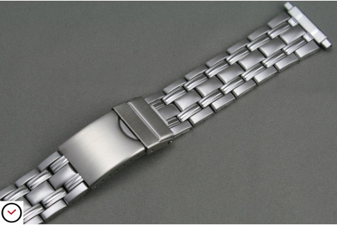 Matt/shiny stainless steel watch strap with telescopic ends (18, 19, 20, 21 & 22 mm), security clasp