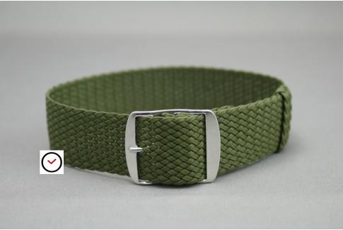 Bracelet montre Perlon tressé Vert Kaki (militaire)